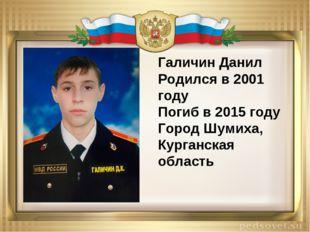 Галичин Данил Родился в 2001 году Погиб в 2015 году Город Шумиха, Курганская