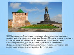 В 1938 году после гибели летчика горьковчане обратились к властям города с хо