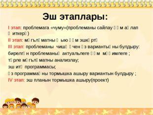 Эш этаплары: I этап: проблемага «чуму»(проблеманы сайлау һәм аңлап җиткерү) I