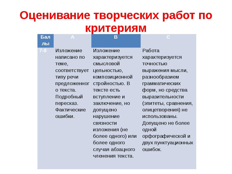Оценивание творческих работ по критериям Баллы А В С 7-8 Изложение написано п...
