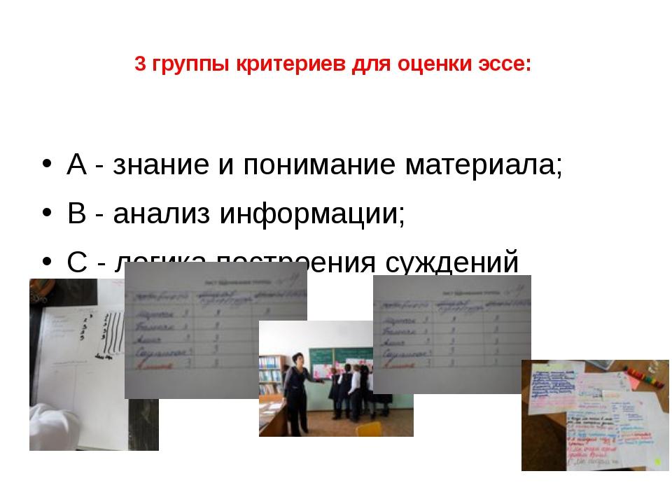 3 группы критериев для оценки эссе: А - знание и понимание материала; В - ан...