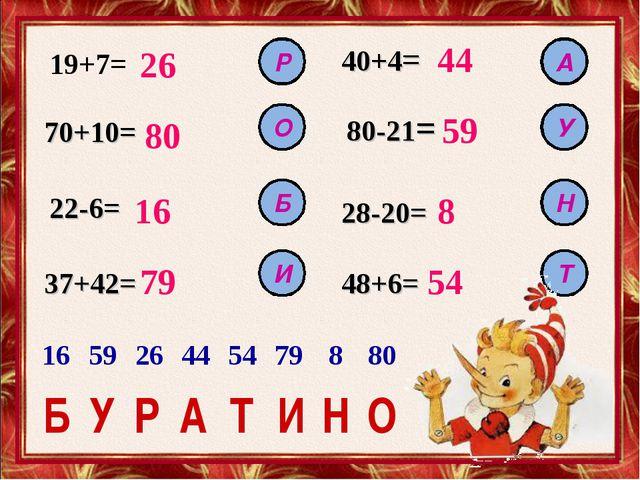 19+7= 26 70+10= 80 22-6= 37+42= 48+6= 28-20= 80-21= 40+4= 16 79 44 59 8 54 Р...