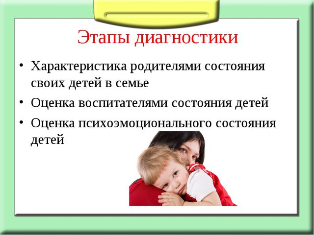 Этапы диагностики Характеристика родителями состояния своих детей в семье Оце...