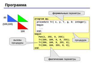 Программа program qq; begin Pen(1, 255, 0, 255); Tr(100, 100, 0, 0, 255); Tr(