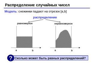 Распределение случайных чисел Модель: снежинки падают на отрезок [a,b] распре
