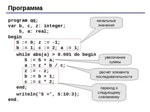 Программа program qq; var b, c, z: integer; S, a: real; begin S := 0; z := -1