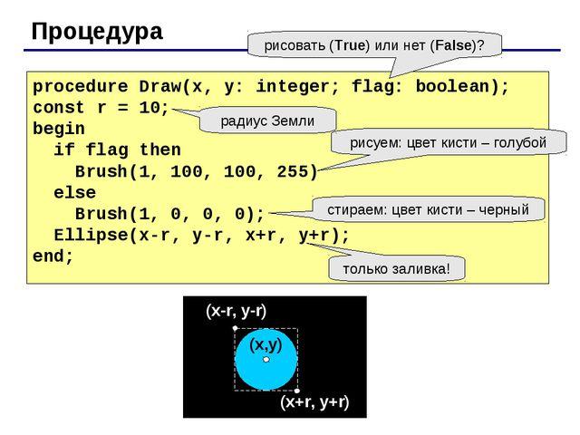 Процедура procedure Draw(x, y: integer; flag: boolean); const r = 10; begin i...