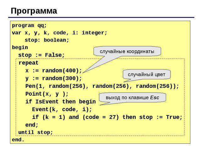 Программа program qq; var x, y, k, code, i: integer; stop: boolean; begin sto...