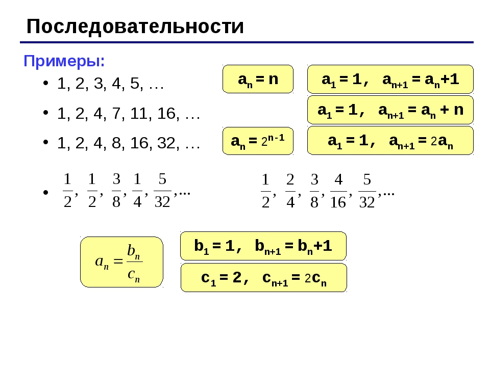 Последовательности Примеры: 1, 2, 3, 4, 5, … 1, 2, 4, 7, 11, 16, … 1, 2, 4, 8...