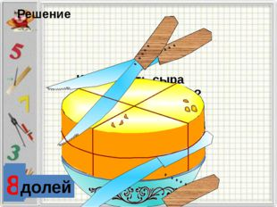 2 доли 4 Какая часть сыра осталась на блюде? Решение 8 долей