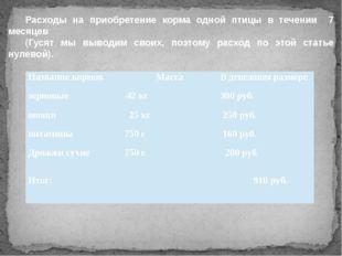 Расходы на приобретение корма одной птицы в течении 7 месяцев (Гусят мы выво