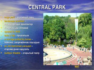 CENTRAL PARK huge park – огромный парк landscape architect – ландшафтный архи