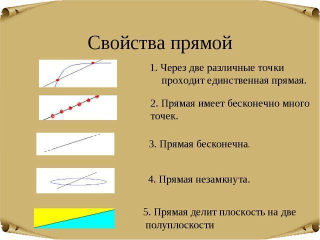 Свойства прямой 1. Через две различные точки проходит единственная прямая. 2....