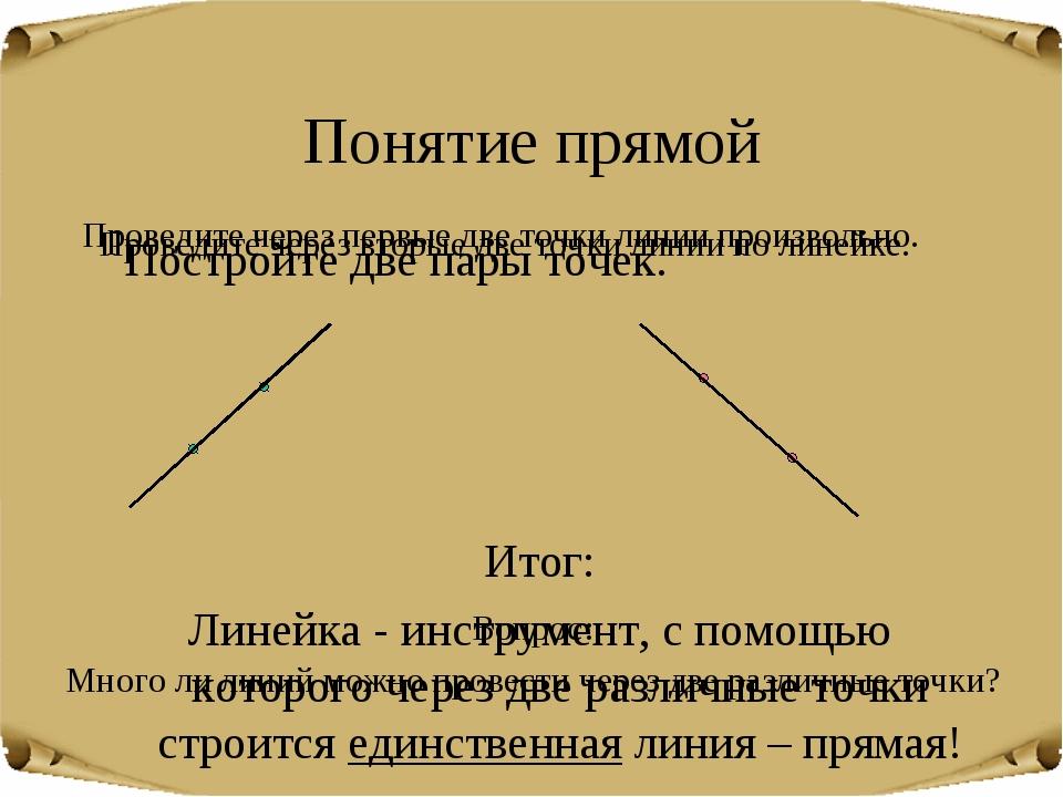 Понятие прямой Постройте две пары точек. Итог: Линейка - инструмент, с помощь...