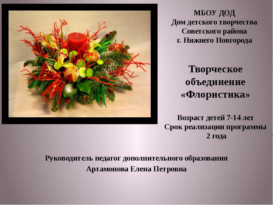 Руководитель педагог дополнительного образования Артамонова Елена Петровна МБ...