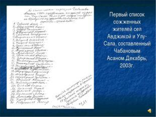 Первый список сожженных жителей сел Авджикой и Улу-Сала, составленный Чабанов