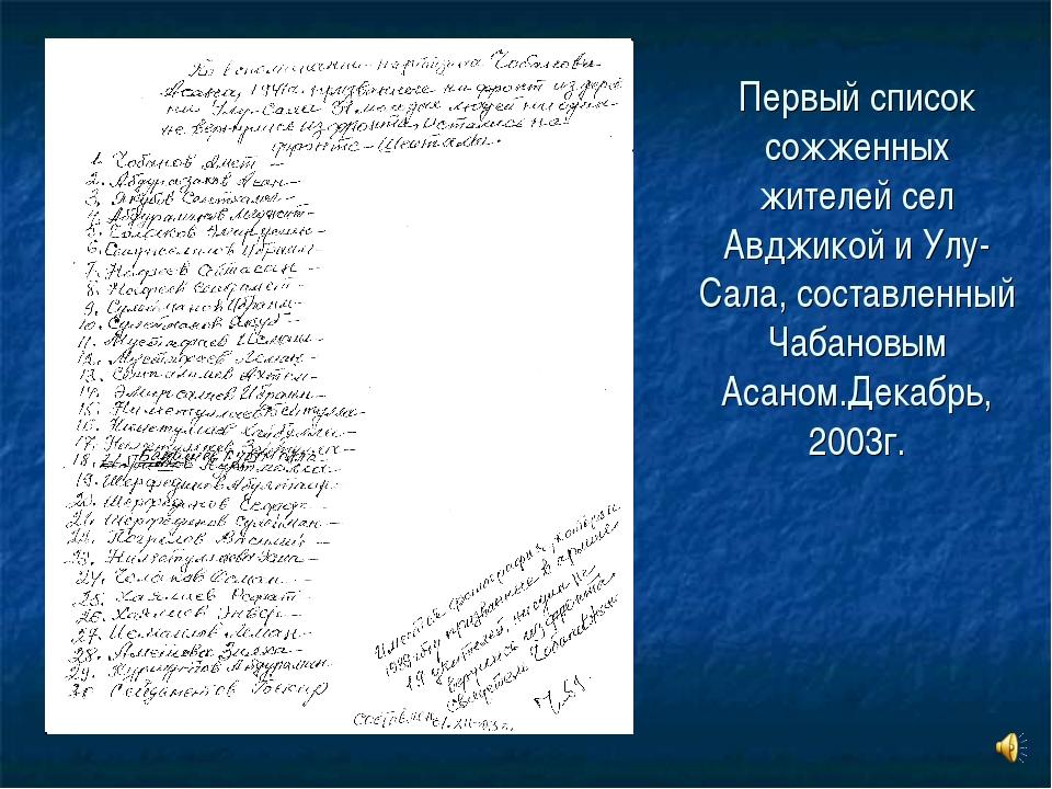 Первый список сожженных жителей сел Авджикой и Улу-Сала, составленный Чабанов...