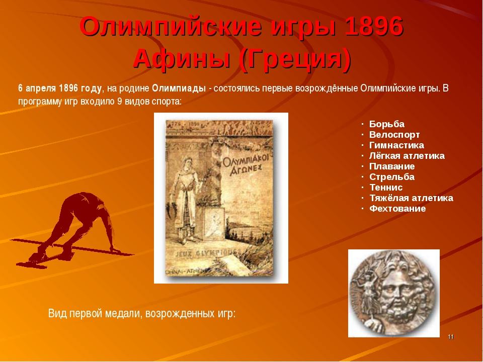 * Олимпийские игры 1896 Афины (Греция) 6 апреля 1896 году, на родине Олимпиад...