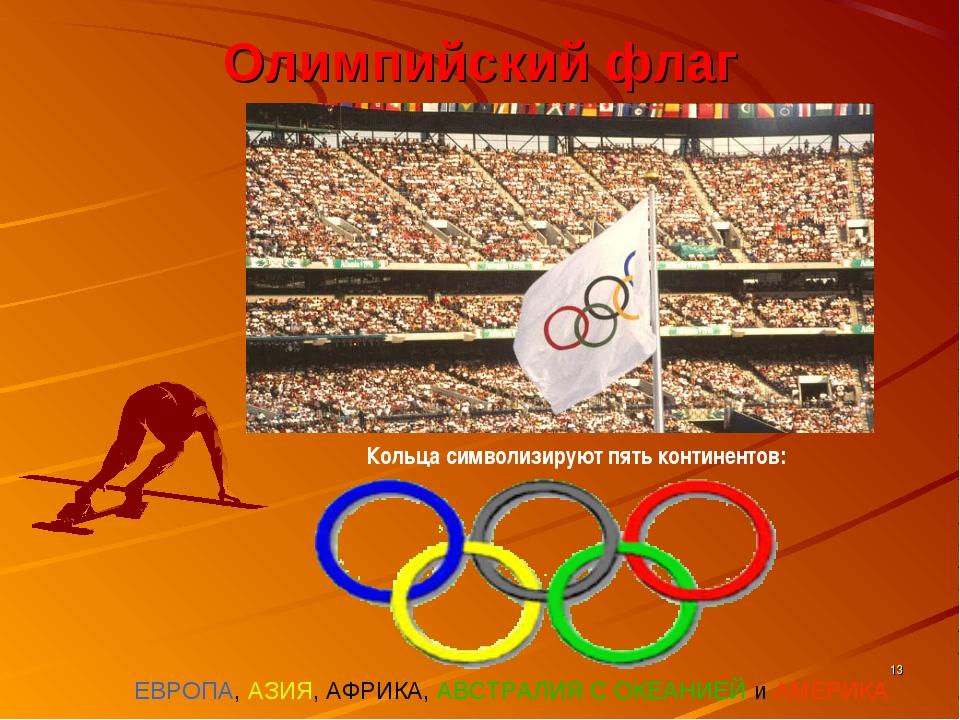 * Олимпийский флаг ЕВРОПА, АЗИЯ, АФРИКА, АВСТРАЛИЯ С ОКЕАНИЕЙ и АМЕРИКА Кольц...