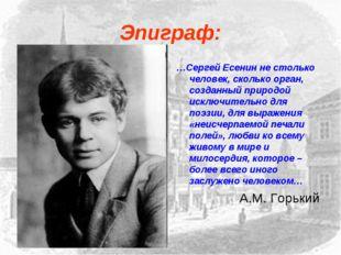 Эпиграф: …Сергей Есенин не столько человек, сколько орган, созданный природой
