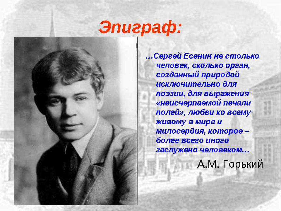 Эпиграф: …Сергей Есенин не столько человек, сколько орган, созданный природой...