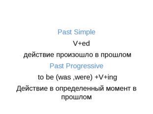 Past Simple V+ed действие произошло в прошлом Past Progressive to be (was ,w