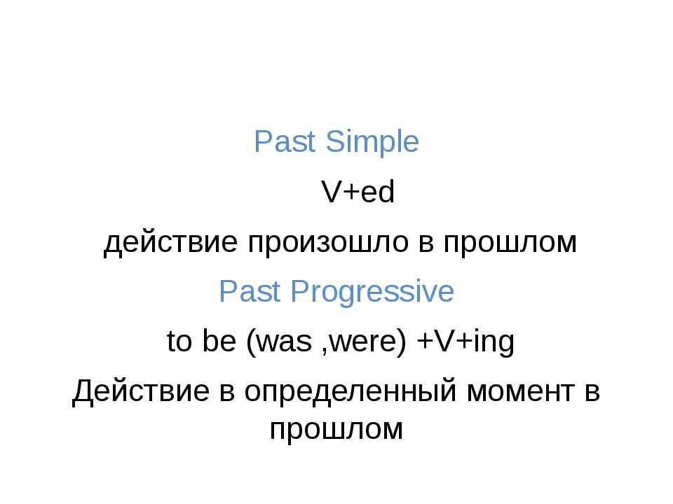Past Simple V+ed действие произошло в прошлом Past Progressive to be (was ,w...