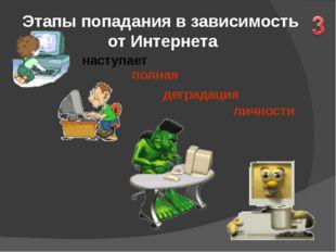 Этапы попадания в зависимость от Интернета наступает личности полная деграда