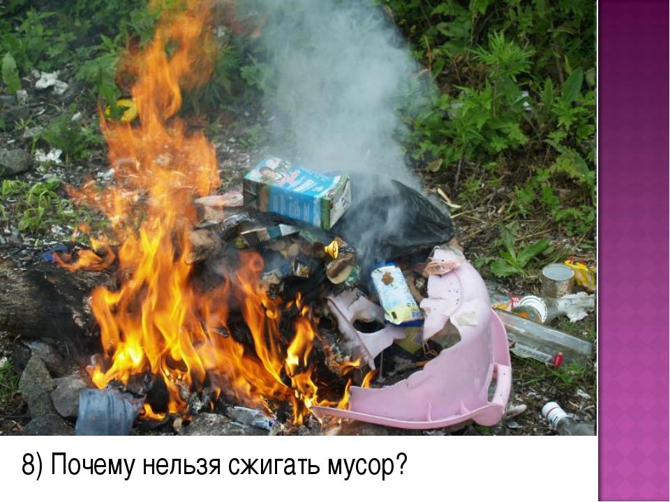 8) Почему нельзя сжигать мусор?