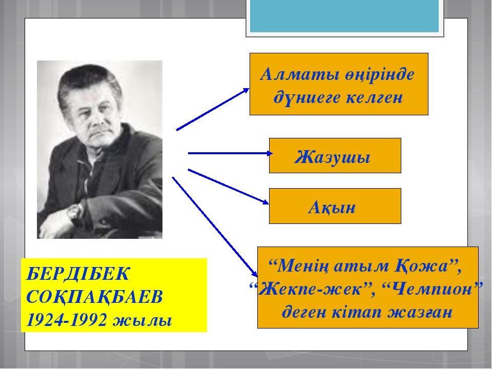 """БЕРДІБЕК СОҚПАҚБАЕВ 1924-1992 жылы Жазушы Алматы өңірінде дүниеге келген """"Мен..."""