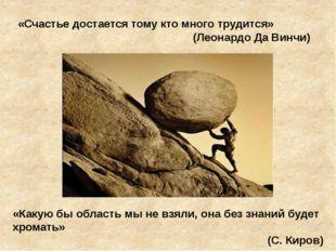 «Счастье достается тому кто много трудится» (Леонардо Да Винчи) «Какую бы обл