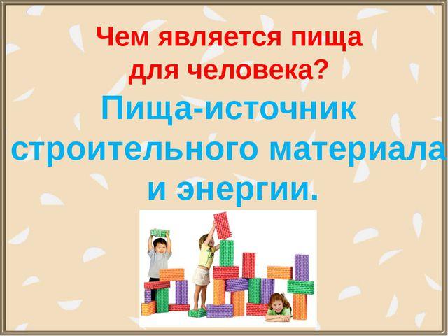 Чем является пища для человека? Пища-источник строительного материала и энерг...