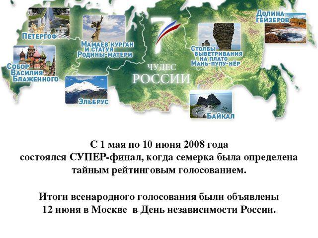 С 1 мая по 10 июня 2008 года состоялся СУПЕР-финал, когда семерка была опреде...