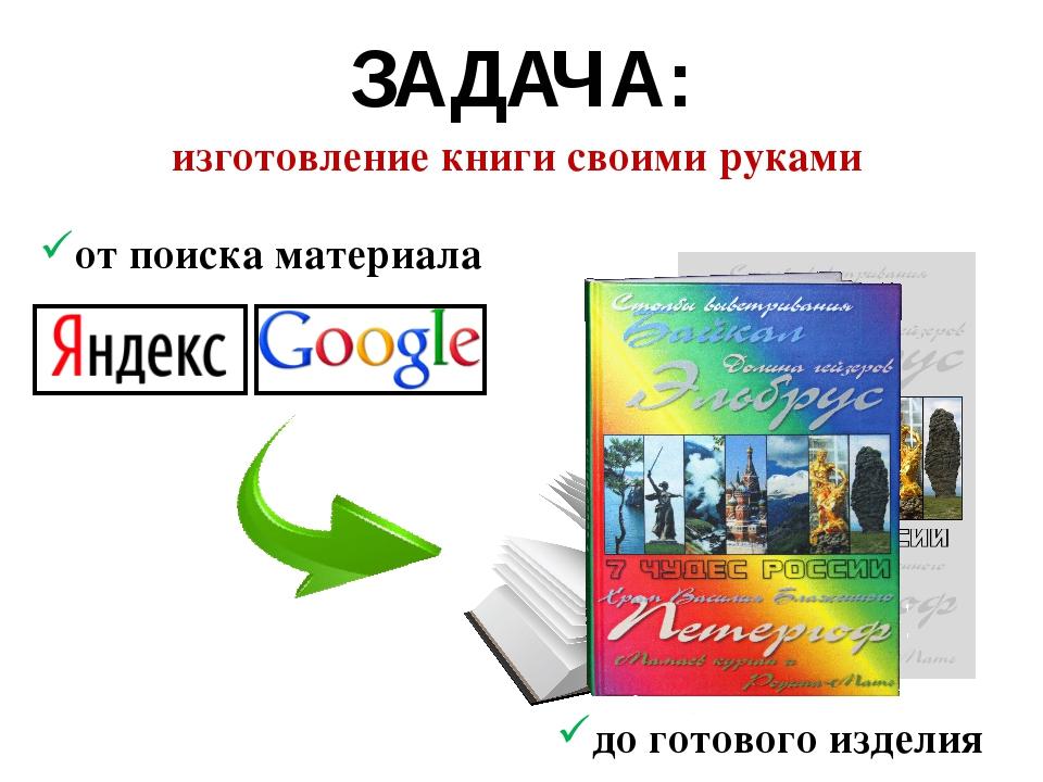 ЗАДАЧА: от поиска материала до готового изделия изготовление книги своими рук...