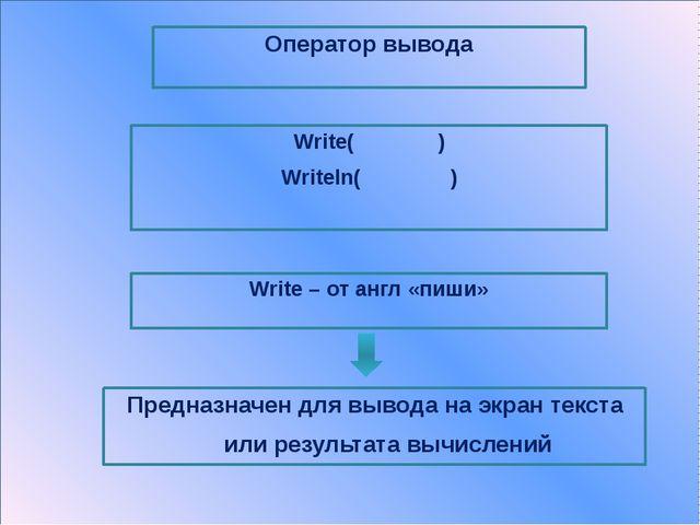 Оператор вывода Writeln( ) Делает переход на следующую строку команда Резуль...