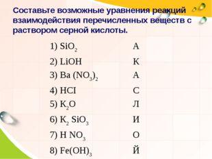 Составьте возможные уравнения реакций взаимодействия перечисленных веществ с