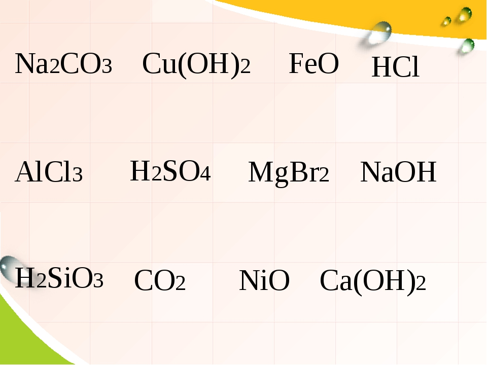 Na2CO3 Cu(OH)2 FeO AlCl3 MgBr2 NaOH CO2 NiO Ca(OH)2 HCl H2SO4 H2SiO3