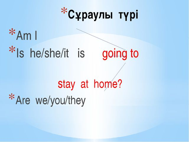 Сұраулы түрі Am I Is he/she/it is going to stay at home? Are we/you/they