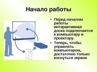 Начало работы Перед началом работы интерактивная доска подключается к компьют