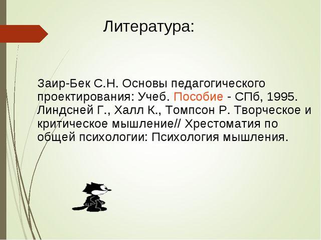 Заир-Бек С.Н. Основы педагогического проектирования: Учеб. Пособие - СПб, 199...