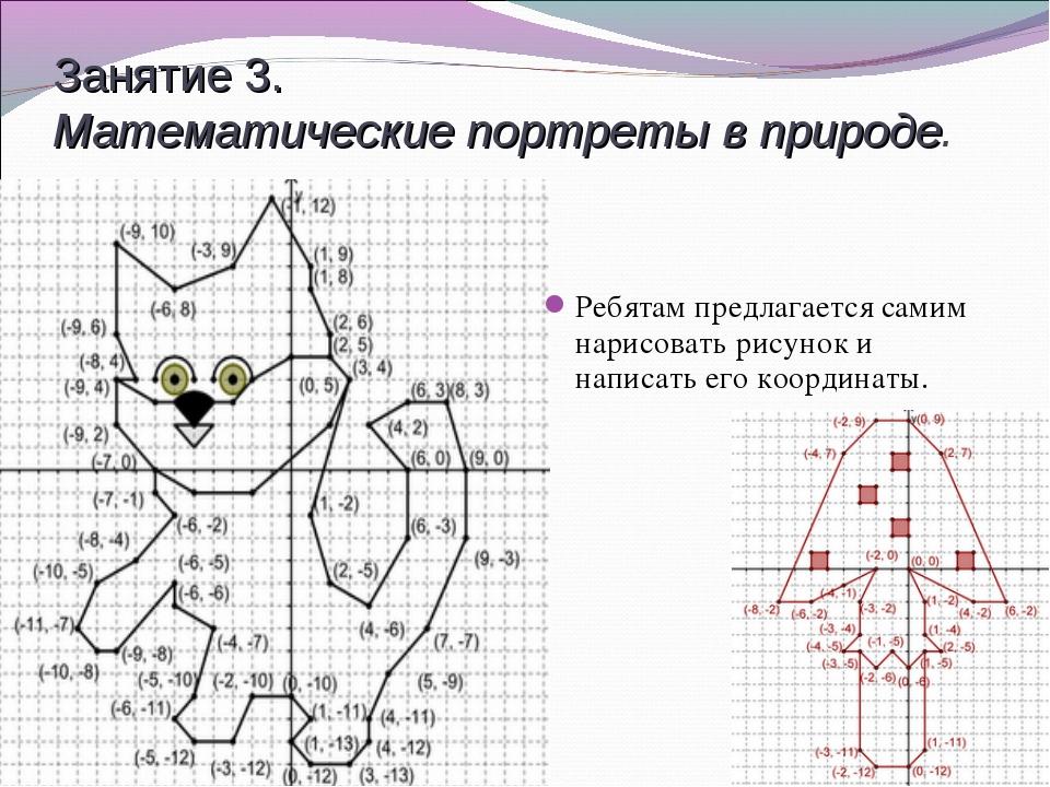 Занятие 3. Математические портреты в природе. Ребятам предлагается самим нари...