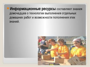 Информационные ресурсы составляют знания домочадцев о технологии выполнения