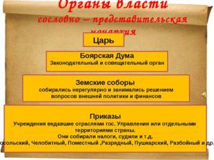 Органы власти сословно – представительская монархия Царь Боярская Дума Законо