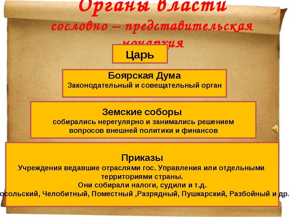 Органы власти сословно – представительская монархия Царь Боярская Дума Законо...