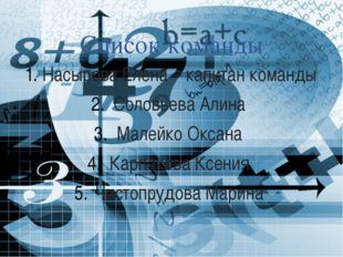 Список команды Насырова Елена – капитан команды Соловьева Алина Малейко Оксан