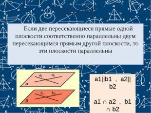 Теорема Если две пересекающиеся прямые одной плоскости соответственно паралл