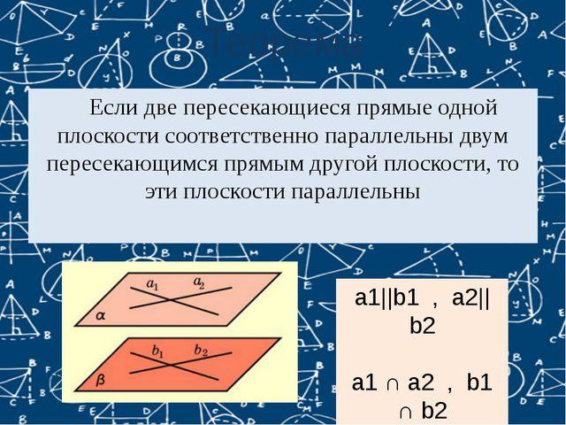 Теорема Если две пересекающиеся прямые одной плоскости соответственно паралл...