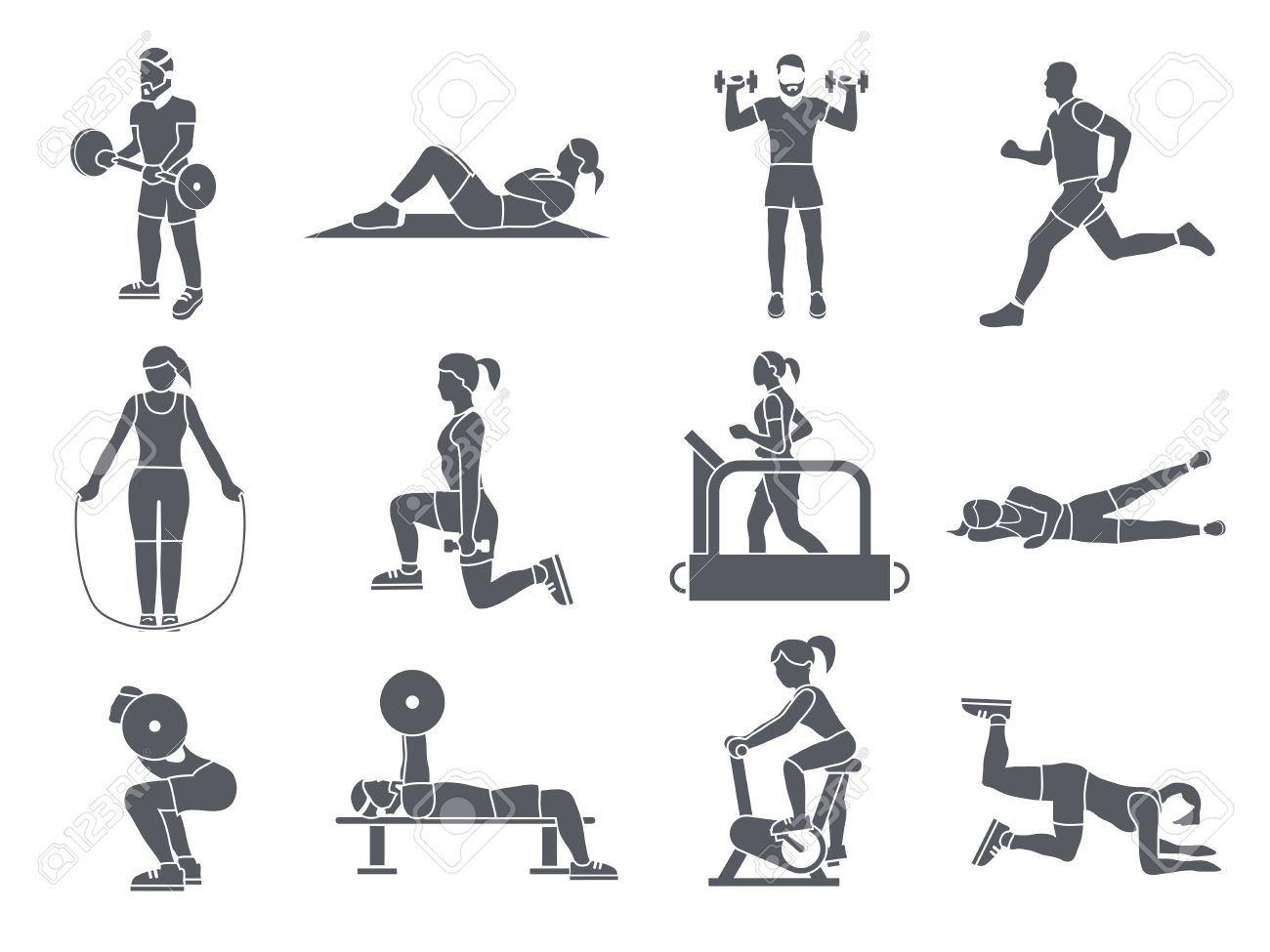 http://previews.123rf.com/images/macrovector/macrovector1410/macrovector141000106/32133156-Gym-sport-exercises-fitness-weight-loss-and-healthy-lifestyle-icons-set-vector-illustration-Stock-Vector.jpg