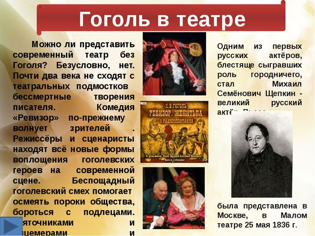 Гоголь в театре Можно ли представить современный театр без Гоголя? Безусловно...