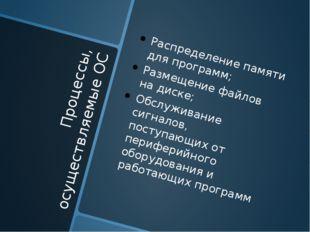 Процессы, осуществляемые ОС Распределение памяти для программ; Размещение фай